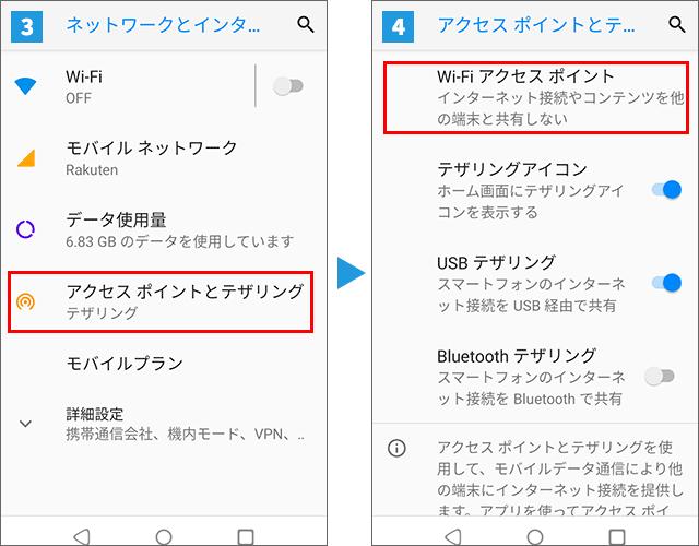 Rakuten MiniでWi-Fi接続によるテザリング