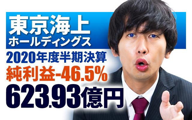 東京海上ホールディングス、2020年度半期決算は純利益-46.5%の623.93億円